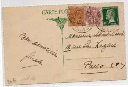 """1925 - CP Avec CACHET FERROVIAIRE """"STRASBOURG MOLSHEIM SCHLESTAD 1°"""" (BAS RHIN) - PASTEUR & BLANC - Railway Post"""