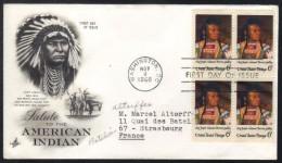 INDIENS D AMERIQUE - INDIAN / 1968 USA  ENVELOPPE PREMIER JOUR ILLUSTREE AYANT VOYAGE (ref 6160) - American Indians