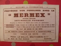 buvard Mermex anti-rouuille. Pogu le gallic bretaudeau. Nantes. vers 1950.