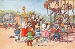 """1956 Les Chats écoliers """" Une Visite Au Zoo"""" Singes - Eléphants - Girafe.  Etat Correct - Chats"""
