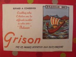 Buvard Produits D'entretien Pour Chaussures Grison. Drakkar 843. Vers 1950. Illustré - Buvards, Protège-cahiers Illustrés