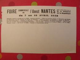 Buvard Foire Commerciale De L'ouest. Nantes Avril 1938 - Buvards, Protège-cahiers Illustrés