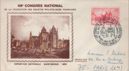 """Lettre Cachet Commémoratif 22 Saint-Brieuc 20 Mai 1972 """"inauguration Du 45e Congrès De La FFAP - Gedenkstempel"""