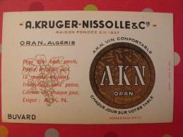 Buvard A. Kruger-Nissolle AKN. Vin. Oran Algérie. Vers 1950 - Buvards, Protège-cahiers Illustrés