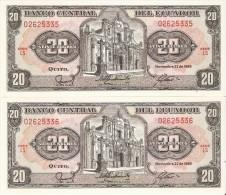 PAREJA CORRELATIVA DE ECUADOR DE 20 SUCRES DEL 22/11/1988 SIN CIRCULAR-UNCIRCULATED - Ecuador