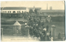 Huelva Talleres De Rio-Tinto, Salida De Obreros REAL PHOTO Sent 1911 Ed. Papelaria Inglesa - Huelva