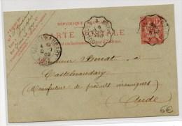 """1902 - ENTIER TYPE MOUCHON De LAGUEPIE (TARN ET GARONNE) Avec CACHET AMBULANT """"TOULOUSE à BRIVE"""" - Marcofilie (Brieven)"""