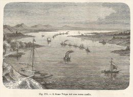 A4978 Il Fiume Volga - Xilografia - Stampa Antica Del 1895 - Engraving - Prints & Engravings