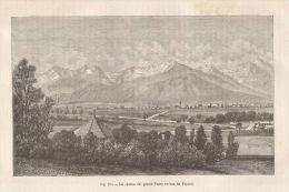 A4934 La Catena Dei Grandi Tatra - Xilografia Antica Del 1895 - Engraving - Prints & Engravings