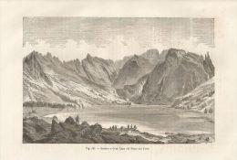 A4919 Gran Lago Del Pesce Sul Tatra - Xilografia Antica Del 1895 - Engraving - Prints & Engravings