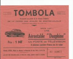 TICKET DE TOMBOLA CAISSE DES ECOLES DE MANTES LA JOLIE 1961 (ILLUSTRATION VOITURE DAUPHINE) - Billets De Loterie