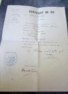 Militaria Certificat De Vie Pour Service Militaire De La Mairie De Poussan En 1918 Guerre 14 18 Documents Cachet - Dokumente
