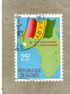GUINEE - Anniversaire De L´Indépendance : Drapeau Et Carte - Guinee (1958-...)