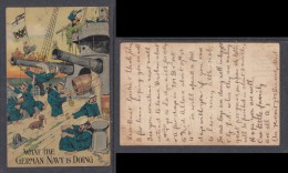Pre - World War I, British Jingoist Humour Card WHAT THE GERMAN NAVY IS DOING,  Valentines (pub) - Humour
