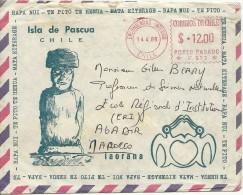 Avril 1980 - ILE DE PÂQUES (Chili) - RAPA NUI - Enveloppe Contenant Une Carte Postale écrite - Documents Historiques