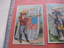 C1880 Newspapers 8 Litho Cards: Set Of 6 VG (+2 Without Border  ) PUCK  PUNCH NY Herald Times Uncle Sam USA  Harlequin - Chromos
