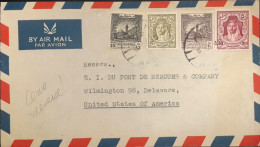 Jordan 1949 Sent From Amman To Dupont US Through Beirut. Jordanian Censor. 2 Scans - Jordania