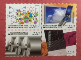 South Korea 2006 - One Block Of 4 Sciences Machinery Mobile Petrochemical Computer Steel Cell Phone Stamps MNH - Computers