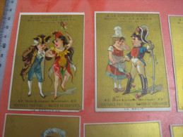 10 Cards C1870 Litho PUB Concert Des Folies Bruxelloises 27 Mars 1870 - Inkom Biljet 20 Cent Drukker Mertens, Geirnaert - Kaufmanns- Und Zigarettenbilder