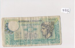 Billets -  B1716- Italie -  500 Lires  ( Type, Nature, Valeur, état... Voir 2 Scans) - [ 2] 1946-… : Republiek