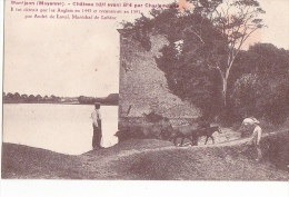 24379 -2cpa -MONTJEAN Mayenne France Château Bâti Charlemagne -bain Chevaux Cheval -sans Ed - Chevaux