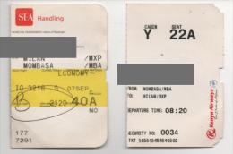 Alt771 Carta Imbarco Boarding Pass Flight Volo Airline Aereo Milano Malpensa Kenia Airways Mombasa - Europe