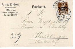 DR Firmen-Postkarte Mit MiNr 124 EF MÜNCHEN 31 - WAIBLINGEN; Gepr. INFLA BERLIN - Brieven