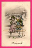 Bonne Année - Lutins - Arlequins - 2 Enfants Sur Un Banc - Chapeaux - Bouffons - H.H.I.W. Nr. 829 - 1911 - Colorisée - New Year