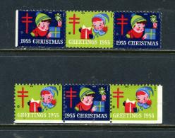 USA Christmas 1955 Vignettes Sans Gomme Noël - Vignettes De Fantaisie