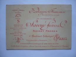 Carte Publicitaire HORLOGERIE FRANCAISE - Concours Chronométrique De 1894 -médaille D'or - Pubblicitari