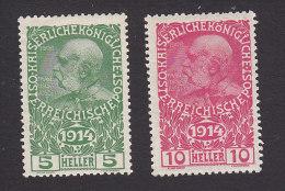Austria, Scott #B1-B2, Mint Never Hinged/Mint Hinged, Franz Josef, Issued 1914
