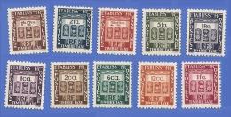 ETABLISSEMENTS DE L'INDE TIMBRES TAXE SERIE COMPLETE 19 A 28 NEUFS ** - Unused Stamps