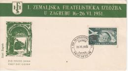 YOUGOSLAVIA FDC MICHEL 653 FLUGPOST AIRMAIL POSTE AERIENNE ZAGREB - FDC