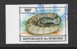 9] 1 Timbre Oblitéré Circulé 1 Circulated Cancelled Stamp Burundi NON Dentelé IMPERFORATED Serpent Grass-snake Couleuvre - Serpents