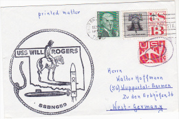 USS Will Rodgers SSBN 659 NUCLEAR SUBMARINE COVER US NAVY  Ilus COWBOY HORSE Usa Stamps Atomic Energy Horses - Atom