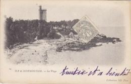 ILE De NOIRMOUTIER La Plage Circulée Timbrée 1c BLANC Ardoise - Ile De Noirmoutier