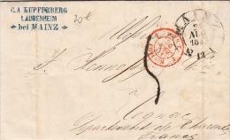 Lettre MAINZ, Cachet Rouge Tour-T Forbach Pour La France 1853 - Lettres