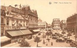 """LIEGE (4000) : Place Du Maréchal Foch. Hôtel-Restaurant """"Au Phare"""", Automobiles, Petite Animation. CPSM. - Liege"""
