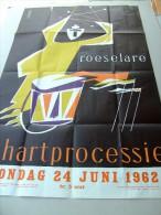 Roeselare H. Hartprocessie zondag 24 juni 1962 (ontwerp Verkest). Groot formaat: ca 62x99cm