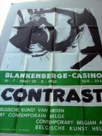 Blankenberge Casino. CONTRAST belgische kunst van heden 10-7-1960 (ontw antoine Mortier). Groot formaat: ca 62x94cm