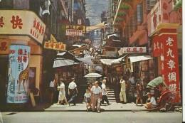 HK1  --  HONG KONG   --  A VIEW OF A TYPICAL STREET WITH STEPS IN CENTRAL DISTRICT, HONG KONG - China (Hongkong)