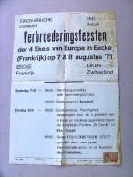 Verbroederingsfeesten EKE belgie, Eiken-Bruche Duitsland, Eecke Fra. en Eiken zwit. 7-8 augustus 1971 (bruine vlekjes)