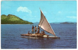 FIJI-FIJIAN OUTRIGGER / WITH NEW CALEDONIAN THEMATIC STAMP-STADIUM / STADE - Figi