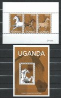 Uganda 2002 Chinese New Year - Year Of The Horse.S/S And Stamps.MNH - Ouganda (1962-...)