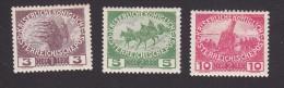 Austria, Scott  #B3-B5, Mint Hinged, Firing Step, Calvary, Siege gun, Issued 1915