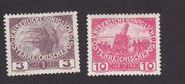 Austria, Scott  #B3, B5, Mint Hinged, Firing Step, Siege gun, Issued 1915