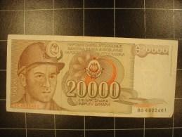 Yougoslavie 20 000 Dinara 1987 P95 Circulé - Yougoslavie