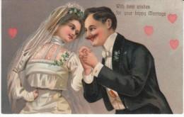 Happy Marriage Bride & Groom Couple C1900s Vintage PFB #6949Embossed Postcard - Marriages