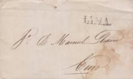 RG)1847 PERU, LIMA LINEAL BLACK CANC., CIRCULATED COMPLETE LETTER TO CERRO, XF - Peru