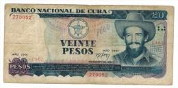 Cuba 20 pesos 1991, used.